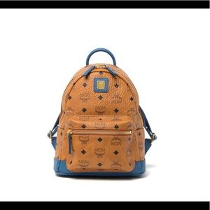 MCM Monogrammed Mini Vistoes Cognac/Blue Backpack